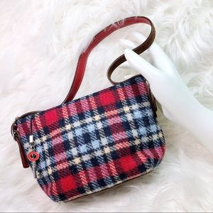 Coach Wool Tartan Demi Bag nutmeg Suede Trim